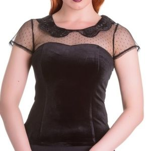 Spin Doctor velvet top with see through skull coll